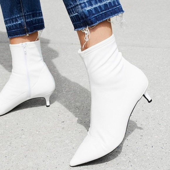 ca6f1aca9a6b Free People Shoes - Free people White Kitten Heels Sock Ankle Boots 8